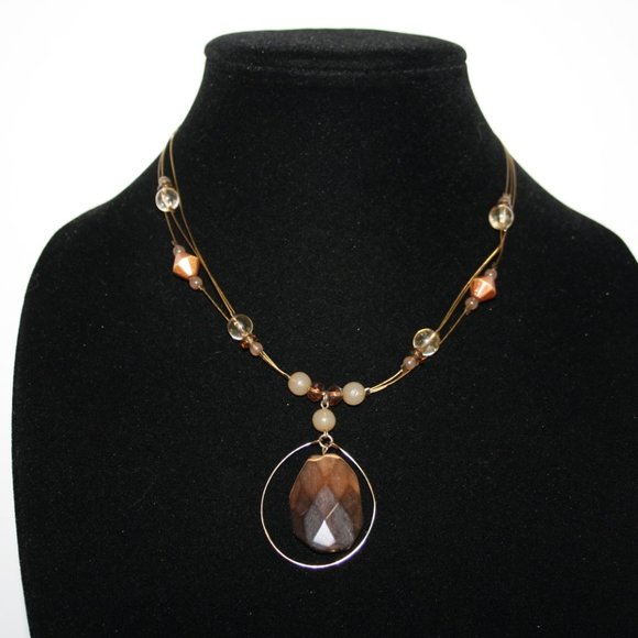 Vintagejelyfish Jewelry - Beautiful gold wire and tigers eye necklace